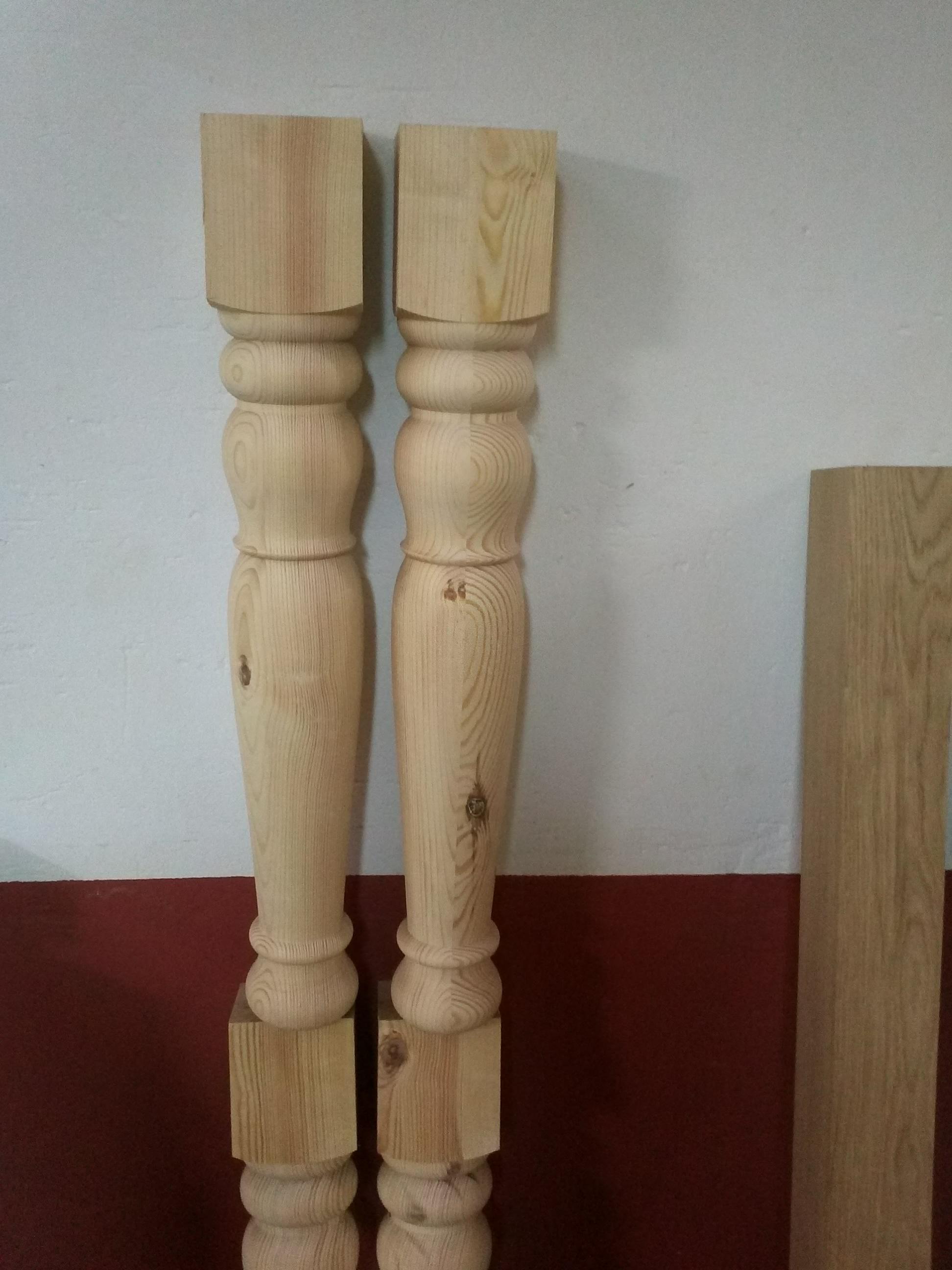 Patas de mesa madera de pino 14x14 tornero artesano de for Patas mesa leroy merlin